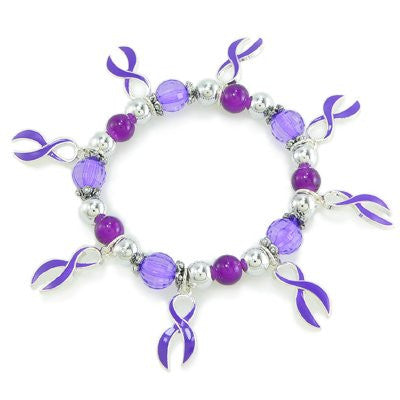 """Find the Cure®"" Purple Enameled Awareness Ribbon Stretchy Bracelet"