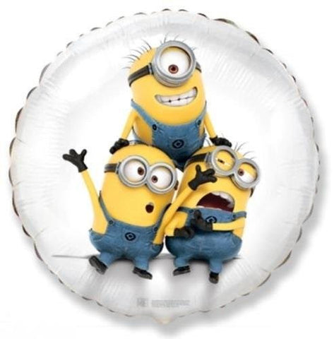 1 BALLOON new DESPICABLE ME minions WHITE round FOIL birthday PARTY favors GIFT use W/ AIR or HELIUM VHTF