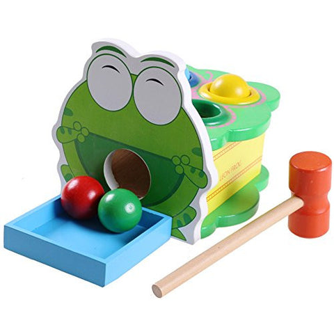 1 pc Educational Wooden Wood Percussion Toys Cartoon Animal Frog Vomit Balls Game Knock Toy Puzzle