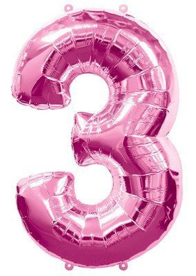 (1) Number Three #3 3rd PINK Girl Birthday Party Figure Mylar Balloon JUMBO 34""