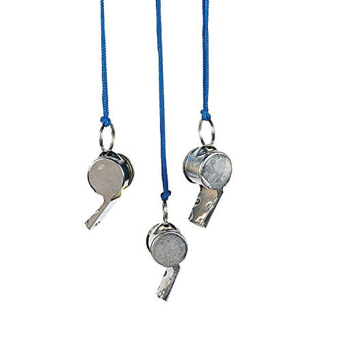 "12 Piece, Sports Fans Metal Whistles 2"" with 36"" Blue Cord"