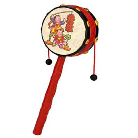 1pc Red Festival Rattle Drum Percussion Childrens Musical Toy Baby Hand Fun Gift