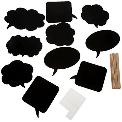 10pcs Photo Booth Props Chalkboard [Blackboards] Speech Bubbles Funny Accessories for Wedding Baby Christmas Birthday Anniversary Newborn Party Shower Decor On a Stick