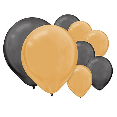 (144) Count 12 Inch Gold and Black Pearl Latex Party Balloons, Bundle Includes (72) Gold Balloons and (72) Black Balloons for Decorations