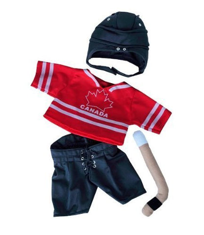 """Canada Hockey"" w/Helmet & Stick Outfit Teddy Bear Clothes Fits Most 14"" - 18"" Build-A-Bear, Vermont Teddy Bears, and Make Your Own Stuffed Animals"