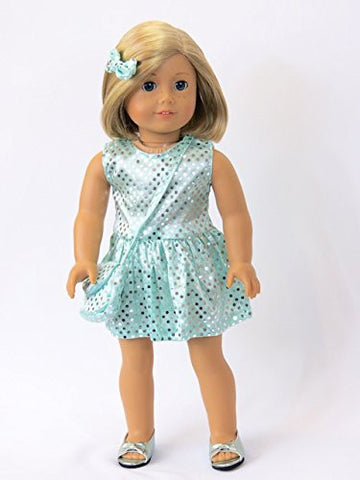 #308 Sequin Dress with Matching Accessories Aqua
