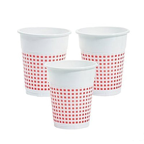 (50) Plastic red and white Checkered cups - 50 Pc -Gingham Picnic cups