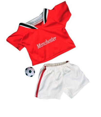 """Manchester"" Soccer w/Ball Uniform Outfit Teddy Bear Clothes Fits Most 14"" - 18"" Build-A-Bear, Vermont Teddy Bears, and Make Your Own Stuffed Animals"