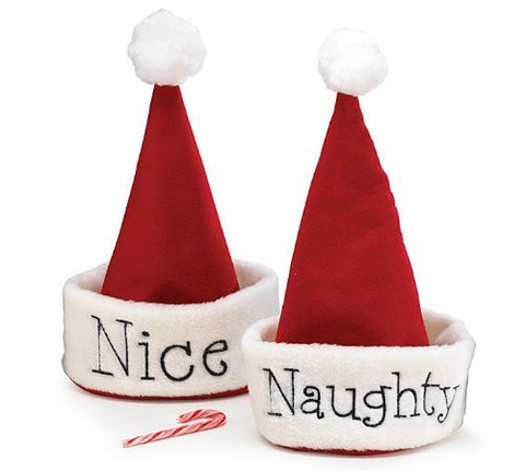 """Naughty"" on One Side & ""Nice"" on the Other Side of Hat Christmas Hat"