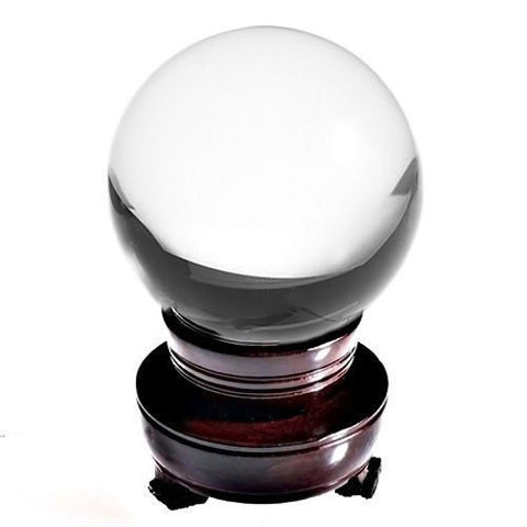"100mm (4"" tall+stand) Natural Quartz Clear Crystal Ball. This crystal ball has been a timeless icon of divination and fortune telling for years upon years."