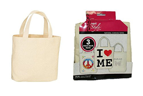 3-pack Natural Canvas Totes ~ 13.5 In. X 13.5 In. X 3.5 In.