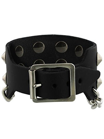 2 Row Conical Chain Leather Bracelet Black