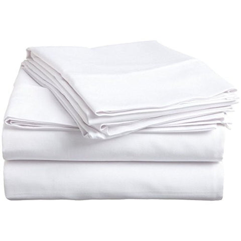 100% Premium Long-Staple Combed Cotton 300 Thread Count Queen 4-Piece Sheet Set, Deep Pocket, Single Ply, Solid, White