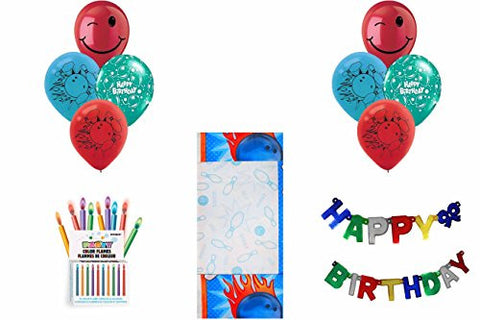 "*NEW* Bowling ""STRIKE!"" Party Pack ~ Tablecover, Flame Candles, Birthday Banner & Balloons"