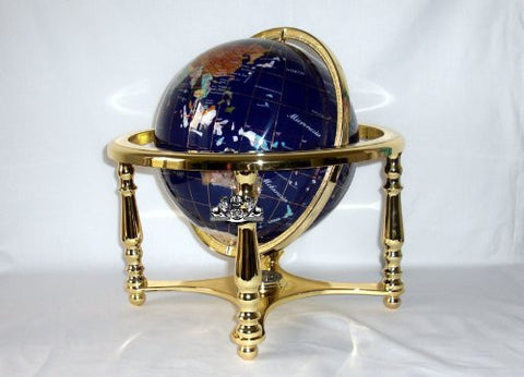 "14"" BLUE LAPIS GEMSTONE GLOBE with Gold Stand"