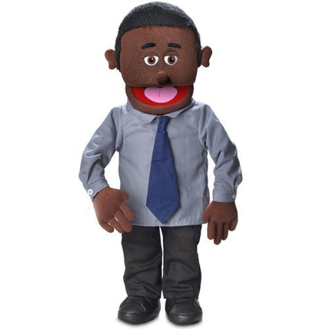 "30"" Calvin, Black Dad / Businessman, Professional Performance Puppet with Removable Legs, Full or Half Body"