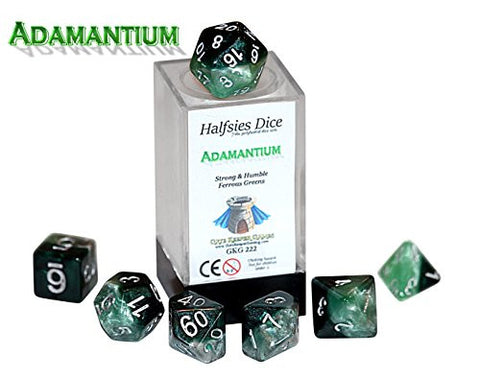 """Adamantium"" Halfsies Dice - 7 die polyhedral rpg gaming dice set - Strong & Humble Ferrous Greens"