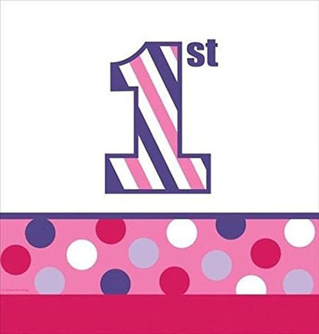 1st Birthday 'Sweet Stripes Girl' Plastic Table Cover (1ct)