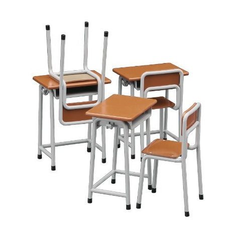 1/12 figure accessories series school desk and chair plastic model FA01