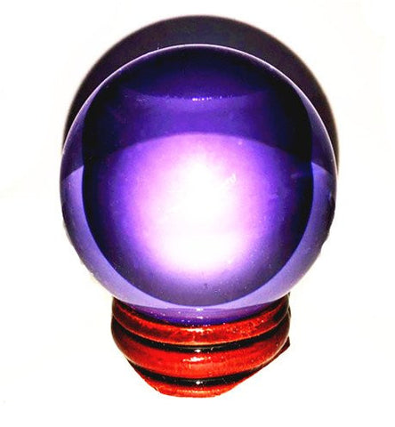 50mm(1.96 inches) Lavender Crystal Ball with Wood Stand Beautiful As Display or A Powerful Feng Shui Tool