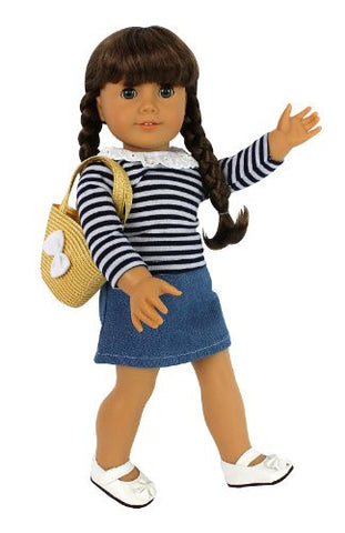 """Casual Everyday Out"" Outfit: Doll Clothes for American Girl Dolls: 4 Piece (Includes Long Sleeved Shirt, Skirt, Shoes, and Basket Purse)"