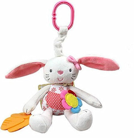 0+ Baby Toy Soft Bunny Plush Doll Baby Rattle Ring Bell Crib Bed Hanging Teether