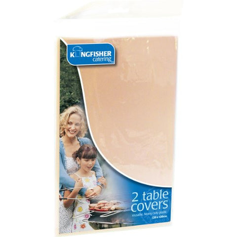 2 Pack Cream Plastic Table Covers