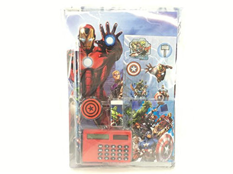 """MARVEL AVENGERS"" Stationery Sch. Supplies Set w/ Calculator 7 Pieces Boys 4+"