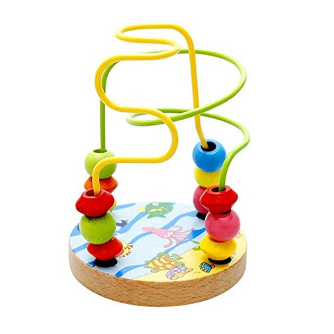 1 pc Colorful Wooden Toy Baby Kids Wooden Mini Around Beads Educational Game Toy