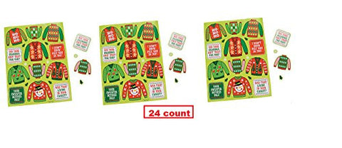 (24 sheets) CHRISTMAS UGLY SWEATER Stickers ~ Funny Card Decorating ~ Contest Work Office ~ Holiday Party Activity ~ Fairs Schools Teacher Classroom Prize Gift ~ Poster Sweater