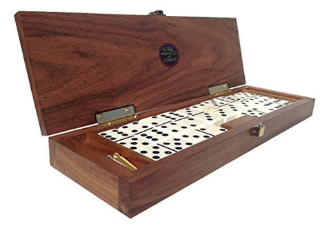 """Le Club"" Luxury Domino Set With Handcrafted Walnut Case and Cribbage / Counter Top - Tournament Quality 28 Indestructible Double-Six Dominoes"