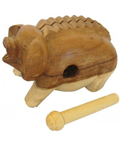 3-inch Oinking Pig - Handcarved Wooden Farm Animals - (PIG-N3)