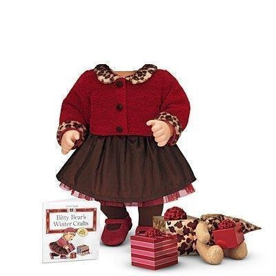 """Chocolate Cherry Cardigan & Skirt Set"" for 15"" Bitty Baby doll"