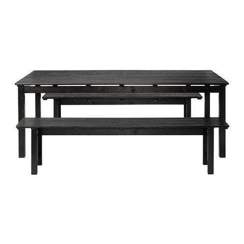 Ikea Table+2 benches, outdoor, black stained brown 182020.82911.1822