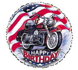 """Harley"" Happy Birthday Mylar Balloon 18"" Motorcycle"