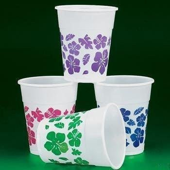 50 Plastic HIBISCUS Drink Cups LUAU PARTY Decor/TROPICAL 16 Oz Beverage Children, Kids, Game