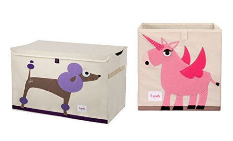 3 Sprouts Toy Chest with Storage Box, Poodle/Unicorn