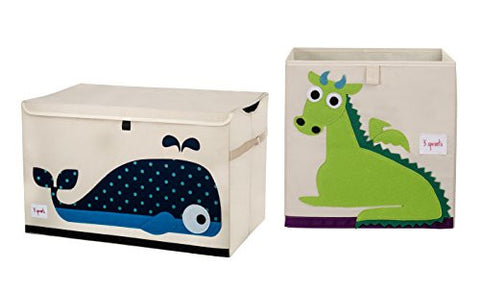3 Sprouts Toy Chest with Storage Box, Whale/Dragon