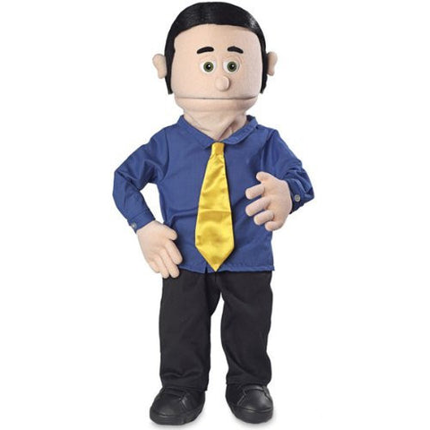 "30"" George, Peach Dad / Businessman, Professional Performance Puppet with Removable Legs, Full or Half Body"