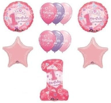 #1 First One 1st GIRL Princess Tiara Pink Stars (11) Birthday Party Balloons Set