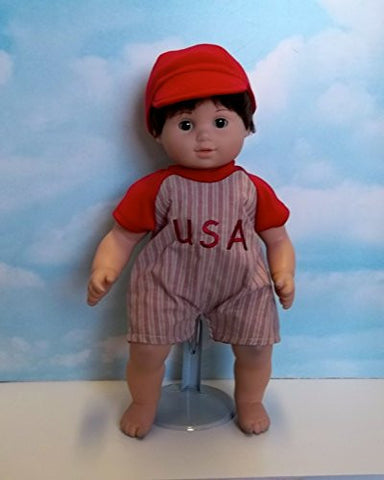 """Play Ball"" Romper in Red. Fits 15"" Dolls like Bitty Baby and Bitty Twin"