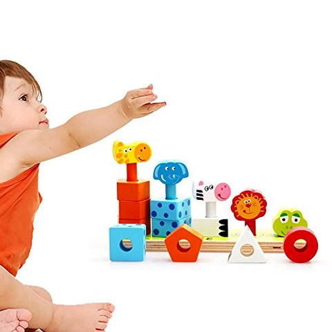 1 pc Cute Animal Folding Happy Children Early Lessons Toys Wooden Animals Stacking Toys