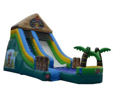 15' Tiki Island Water Slide - Wet or Dry Slide, Includes 1.5 HP Blower and Free Shipping