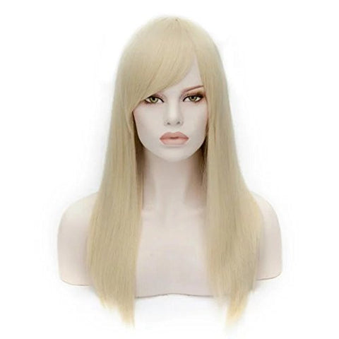 55cm Heat Resistant 21 Colors Long Straight Women Party Fashion Cosplay Wig +Cap (Light Blonde)