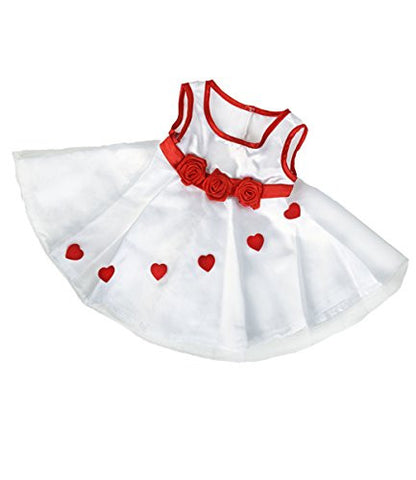 """Adorable Hearts"" Dress (16"") Teddy Bear Clothes Outfit Fits Most 14"" - 18"" Build-a-bear, Vermont Teddy Bears, and Create Your Own Stuffed Animals"