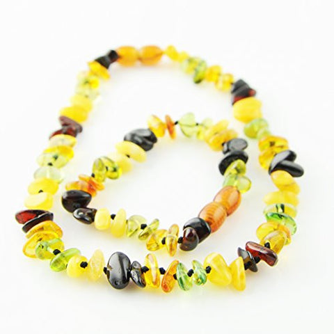 'Caribbean Rain' Baltic Amber Teething Necklace and Bracelet SAFETY KNOTTED Set for Baby (Green Caribbean, Baltic Cognac, Butterscotch, and Cherry)
