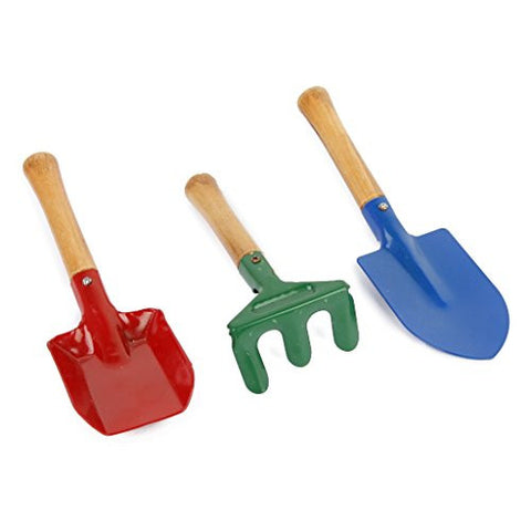3Pcs Outdoor Garden Tools Set Rake Shovel Playset Kids Beach Sandbox Toy
