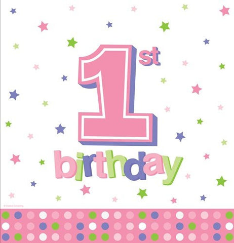 1st Pink Dots Printed Plastic Tablecover, Girl Birthday Party Supplies and D�cor