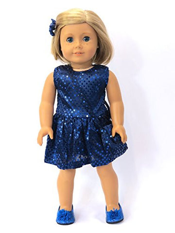 #308 Sequin Dress with Matching Accessories Royal Blue