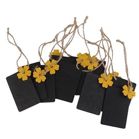 10x Mini Yellow Flower Rectangle Wood Chalkboard Tags